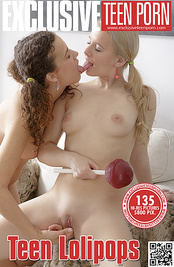 These beautiful teen girlfriends undressing and playing their lesbian games with huge lollipop.